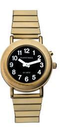 Sprechende Armbanduhr goldfarben mit Einknopfbedienung und Metallzugband