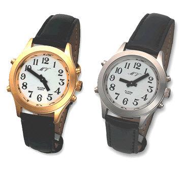 Sprechende Armbanduhr mit Datumsansage und Lederarmband