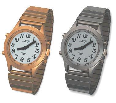 Sprechende Armbanduhr mit Datumsansage und Metallzugband