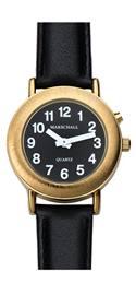 Sprechende Armbanduhr goldfarben mit Einknopfbedienung und Lederarmband