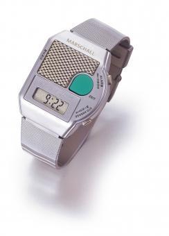 Sprechende Armbanduhr Big Button silberfarben mit großem Sprachknopf