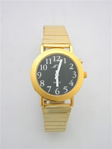 Sprechende Armbanduhr Einknopfbedienung / Metallzugband