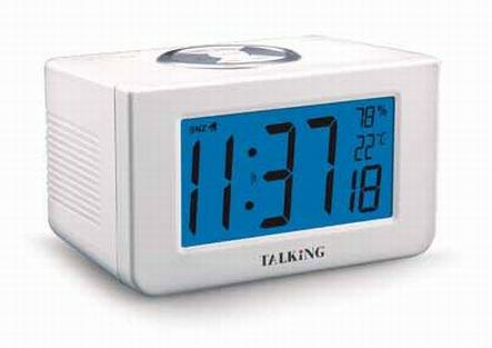 Sprechender Funkwecker mit Ansage von Temperatur und Luftfeuchte